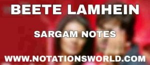 Beete Lamhein Sargam And Flute Notes