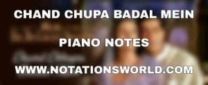 Chand Chupa Badal Mein Piano Notes
