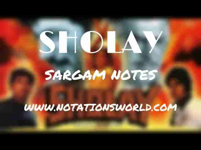 Sholay Theme Tune - Sargam And Flute Notes